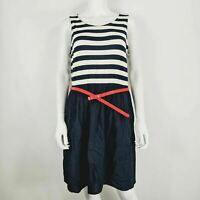 George UK 16 Dress Navy & White Stripe Red Belt Nautical Sleeveless Casual