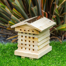 Wooden Insect Bee Hive House Natural Wood Bug Hotel Shelter Garden Nest Box UK