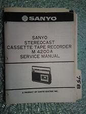 New listing Sanyo m4200a m-4200a service manual original repair book cassette tape recorder