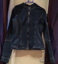 Roxy Quicksilver Zip Blue Denim Biker Style Jacket UK 6 8