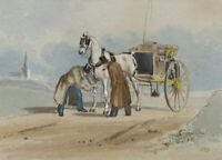 Charles Cooper Henderson, Injured Carriage Horse – Mid-19th-century watercolour