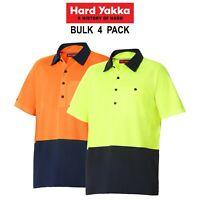 Mens Hard Yakka Koolgear Hi-Vis BULK 4 PK Short Sleeve Safety Polo Shirt Y11396