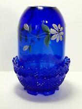 "Fenton Cobalt Blue 2-Piece 4.5"" Fairy Light - Hand Painted & Signed by Artist"