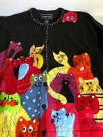 New Vintage Terazzo Embroidered Vibrant Cardigan Sweater Cat Woman's XL