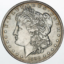 1890-P MORGAN SILVER DOLLAR UNC GORGEOUS ORANGE BLUE RIM COLOR TONED BU (MR)
