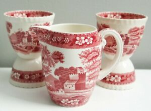 Copeland Spode Tower 3 Pcs Double Egg Cups Creamer Pink Transferware Vintage