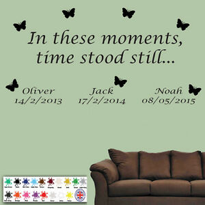 In These Moments Time Stood Still Wall Quote Stickers Wall Decal Words Butterfly