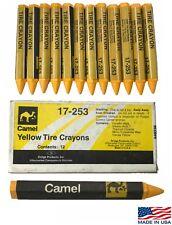 Camel 17-253 Yellow Tire Glass Automotive Marking Wax Crayons 1/2 Hex 12 Per Box
