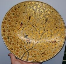 Japanese lacquer Plate With Gold Leaves And Birds In Tree 14 inch