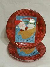 SET OF 4-SAKURA EVOLUTION HOLIDAY CHRISTMAS RED SNOW PALS MELAMINE DINNER PLATES