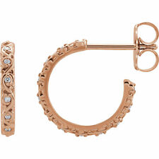 Diamond Sculptural J-Hoop Earrings In 14K Rose Gold