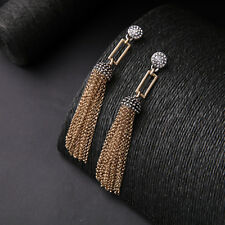 Vintage Style Crystal Diamante Loop Tassel Bronze Metal Long Dangle Earrings