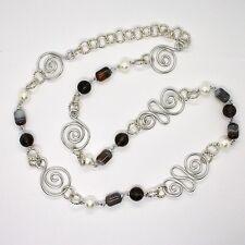 Collier la Aluminium Longue 88 cm avec Calcédoine Quartz Perles Blanches