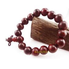 Buddha Buddhist Mantra Prayer Red Rosewood Beads 12mm Wood Bracelet