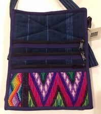 NEW Embroidered Cross-Body Bag by Ten Thousand Villages. Blue Denim. 8.5x6.5""
