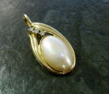 Silberanhänger mit Majorica-Perle oval 925er Silber vergoldet Anhänger 3,9 cm