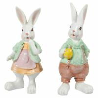 2 Easter Bunny Figurines Rabbit Couple Decoration for Home and Garden Wedding
