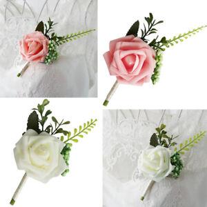 Rose Flowers Brooch Wedding Boutonniere Corsage for Groom Groomsmen Bride