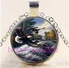 Flying Eagle Photo Cabochon Glass Tibet Silver Chain Pendant Necklace