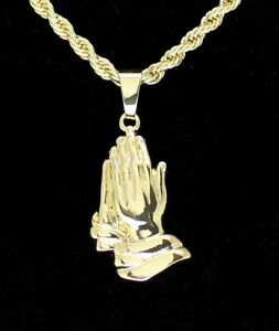 """14k Gold Plated Praying Hands Pendant Cz 24"""" Rope Chain Hip Hop Necklace"""