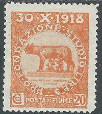 1919 FIUME FONDAZIONE STUDIO 20 CENT MH * - F14-3