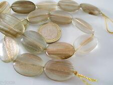 1 filo  ovali piatti in vetro soffiato beige con inclusioni dorate di 25x18 mm