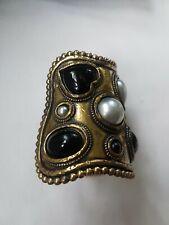 Vintage Edouard Rambaud Paris  DESIGNER FAUX Pearl Hearts & Glass Cuff Bracelet