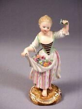 Meissen Porcelain girl flowers 19 century Figurine ANTIQUE Germany