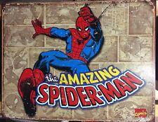 The Amazing Spiderman Retro Panels Metal Poster TIN SIGN Marvel Wall Decor