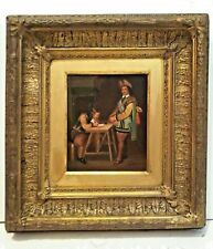ANTIQUE ORIGINAL SIGNED Oil On METAL 17th/18th C. WITH BEAUTIFUL CARVED FRAME.