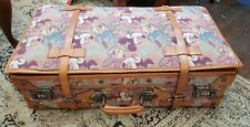 Vintage Disney Mickey Mouse Tapestry Leather Suitcase