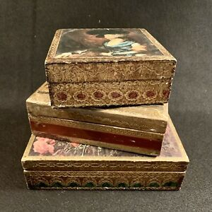 Trio of Vintage Florentine Wood Boxes - Keepsake - Jewelry - Made in Italy