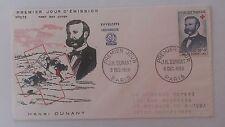 FRANCE PREMIER JOUR FDC YVERT 1188 HENRI DUNANT 20F+ 8F PARIS 1958 G108