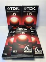 TDK Premium Quality HS Blank VHS Tapes 6hrs T-120HS Lot Of 5 Factory Sealed