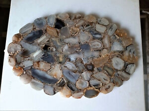 Natural Agate Table Top, Natural Agate Table, Live Edge Stone Table Bedroom Deco