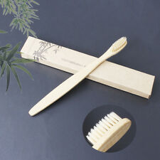 1XMedium-Bristle Bamboo Toothbrush Rainbow Wood Teeth Brush Fibre Hand Yellow FZ