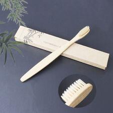 1XMedium-Bristle Bamboo Toothbrush Rainbow Wood Teeth Brush Fibre Hand YellowTB