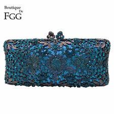 Turquoise Blue Flower Women Metal Box Crystal Evening Clutch Bag Wedding Handbag