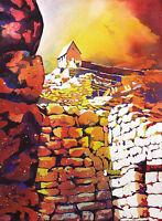 Machu Picchu ruins in Peru- original watercolor painting, colorful art