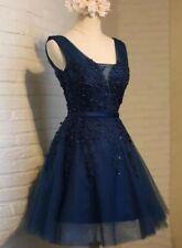 Babyonline Navy Girls Sleeveless Beaded Skater Prom,Party,Evening,Wedding Dress