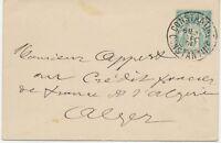 """ALGERIEN 1898 Allegorie 5C blaugrün französischer GA-Umschlag m K2 """"CONSTANTINE"""""""