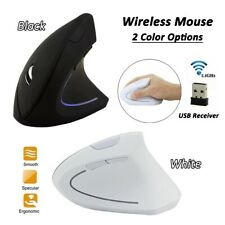 Black/White USB 6 Keys Optical Wireless Ergonomic Design Vertical Mouse Mice
