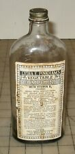 "Vtg 8"" Tall Lydia E. Pinkham's VEGETABLE COMPOUND 14oz Empty Clear Glass Bottle"