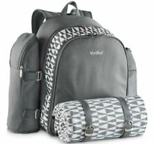 4 Person Geo Grey Picnic Backpack Bag with Blanket Camping Countryside Dining