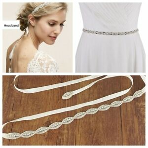 Crystal Wedding Dress Belt Rhinestone Bridal Sash Hair Vine Headband Headdress