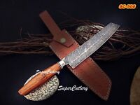 """13"""" Custom Hand forged Damascus Chef Knife with Rose Wood Handle"""