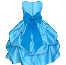 TURQUOISE BLUE COLOR DRESS FLOWER GIRL WEDDING BRIDESMAID BIRTHDAY BRIDAL CHILDS