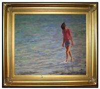 Framed Young Lady Playing on Beach, Quality Oil Painting 24x30in