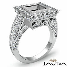 Pave Diamond Engagement Princess Bezel Semi Mount Huge Ring Platinum 950  2.1Ct