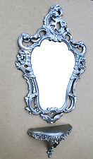 Console muro Antico Specchio Da Parete Barocco Argento 76x50 stile liberty